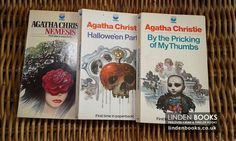 Vintage Agatha Christie books with lovely Tom Adams artwork on the covers. For sale in our online shop.
