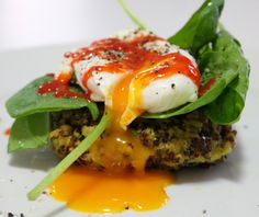 Quinoa fritters with a poached egg - healthy breakfast Poached Eggs, Fritters, Mondays, Quinoa, Delish, Waffles, Salt, Fruit, Healthy