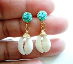 Turquoise and Cowry Shell Earrngs- Exotic Dangles - Mineral Jewelry on Wanelo