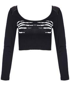 Camiseta Crop Mano esquelética manga larga-negro 12.87