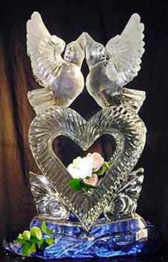 Doves + Heart at Wedding | Full Spectrum Ice Sculptures