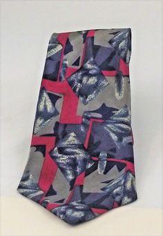 """Johnny Carson tie men's necktie Abstract Blue Red Grey 58"""" Polyester Mint   #JohnnyCarson #NeckTie"""