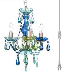 The Original Gypsy Color 3 Light Mini Plugin Sea-Side Vintage Chandelier for Silver Metal Frame with Blue Green Multicolor Acrylic Crystals Plug In Chandelier, Brushed Nickel Chandelier, Ceiling Chandelier, Vintage Chandelier, Japanese Paper Lanterns, Cage Pendant Light, Metal Ceiling, Light Blue Green, Home