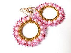 ORECCHINI CERCHIO ROSA oro gioielli primavera di ERYCOLLECTION, $25.00