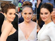 High, sleek, voluminous buns ruled the red carpet at the Oscars - a hair donut and some hairspray and this should be a cinch to pull off! Funky Hairstyles, Wedding Hairstyles, Bridal Hair And Makeup, Hair Makeup, Fun Buns, Nice Buns, Oscar Fashion, Bridal Updo, Hairspray
