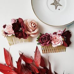 Blush pink burgundy flower comb Hair comb Boho Floral accessories Wedding comb Bridal headpiece Bridesmaid headpiece Burgundy wedding