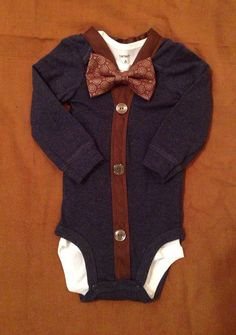 Baby Boy Clothes - Newborn Outfit - cardigan and bow tie