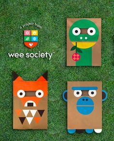 Dinosaur, Fox, Monkey. DIY Paper Bag Costumes from Wee Society.