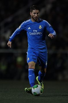 Sergio Ramos runs with the ball during the Copa del Rey, Round of 32 match between Olimpic de Xativa and Real Madrid at Estadio La Murta on December 07, 2013 in Xativa, Spain.