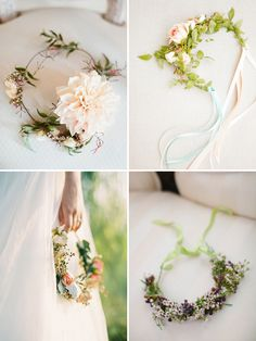 These delicate crowns of flowers for your hair are a gorgeous option for your wedding style and personal expression.