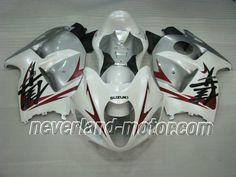 SUZUKI GSX-R 1300 1996-2007 Hayabusa ABS Fairing - White/Silver #99-07hayabusafairings #hayabusafairings
