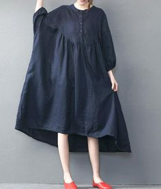 Dark blue oversized loose long dress red large size dresses
