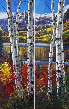 Autumn on Bells - diptych - autumn aspen art prints of Colorado - Jennifer Vranes