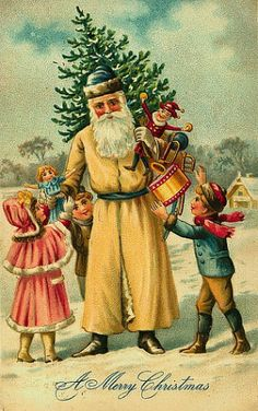 Vintage Christmas Postcard:Santa & childrens