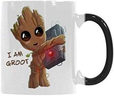 Gift Idea Funny Mugs - I'm Groot Coffee Mug Morphing Changing Color Heat Reveal Tea Cup 11 Oz Coffee Cups, Tea Cups, I Am Groot, Baby Groot, Hannukah, Funny Mugs, Color Change, Amazon, Bed Room
