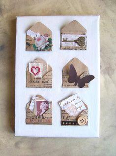 Valentine gift / original mixed media collage art by artangel, £23.00