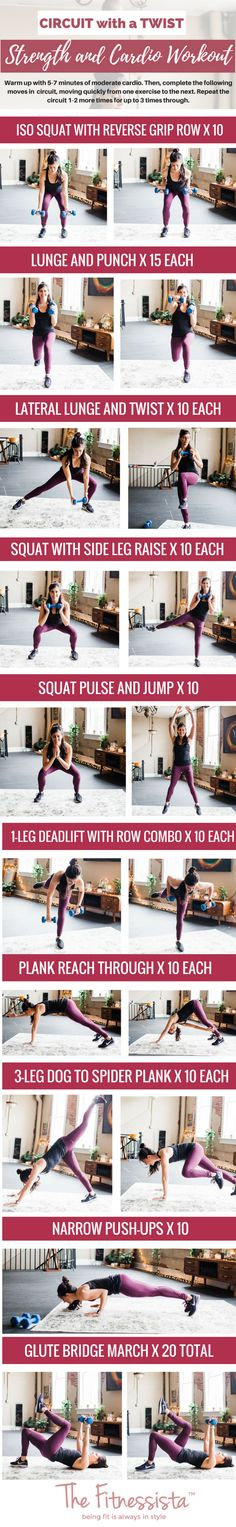 Circuit with a twist! Simple ways to change up your favorite strength training moves. fitnessista.com #circuitworkout #strengthworkout #strengthandcardioworkout