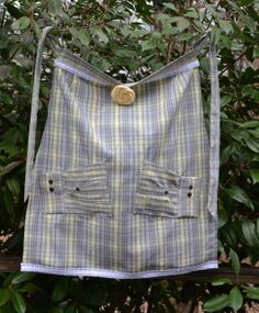 Apron Upcycled from Men's Casual Shirt by AcornHillHome on Etsy, $20.00
