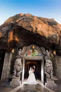 Enchanted wedding portrait at Be Our Guest Restaurant in Disney's Magic Kingdom