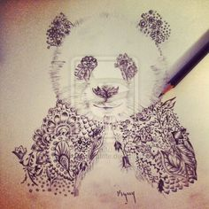 Henna Panda for tattoo design by ~Mymy-La-Patate on deviantART