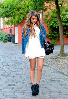 I need a jean jacket like this, I have the perfect dress for this look