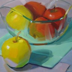 "Daily Paintworks - ""Apples in Glass Bowl"" - Original Fine Art for Sale - © Robin Rosenthal"