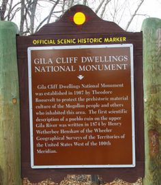 Historic Marker, Gila Cliff Dwellings National Monument, near Silver City, New Mexico