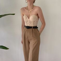 Incredible, favorite camel pure silk high-waisted pleated trousers with a semi cropped, straight fit. Most chic, absolute wardrobe staple. Online now. Aesthetic Fashion, Aesthetic Clothes, Looks Style, My Style, Bodysuit Fashion, Cute Casual Outfits, Outfit Goals, Fashion Outfits, Womens Fashion