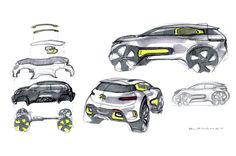 Citroen reveals quirky Aircross crossover concept at the 2015 Shanghai Motor Show. Car Design Sketch, Truck Design, Layout Design, Citroen Ds, Citroen Cactus, Presentation Board Design, Conceptual Drawing, Hand Sketch, Photoshop