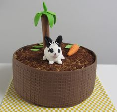 konijn in plantenbak taart