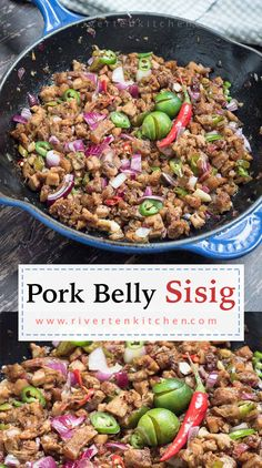 The easiest sisig recipe you'll ever make! It uses the simplest ingredients and no charcoal grilling needed. The bits of pork belly are slathered in a citrusy, savory, spicy sauce topped with raw onio Sisig Recipe Philippines, Philippines Food, Pork Recipes, Wine Recipes, Cooking Recipes, Healthy Recipes, Easy Pork Belly Recipes, Easy Filipino Recipes, Asian Recipes