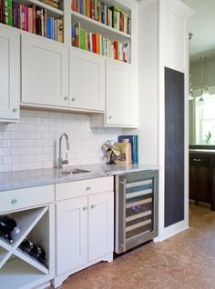 Suzie: Beth Haley Design - Butler's pantry with white shaker cabinets with carrara marble . Chalkboard Wall Kitchen, Chalkboard Wall Bedroom, Black Chalkboard, White Shaker Cabinets, Grey Kitchen Cabinets, Kitchen Island Bar, Kitchen Dining, Dining Rooms, Cork Flooring