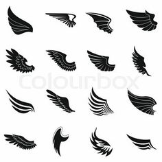 """Buy the royalty-free Stock vector """"Set of bird wings for heraldry design"""" online ✓ All rights included ✓ High resolution vector file for print, web & So. Eagle Wing Tattoos, Boxing Tattoos, Ankle Tattoo Men, Wings Icon, Cool Symbols, Harley Quinn Drawing, Hippie Wallpaper, Cool Small Tattoos, Hip Hop Art"""