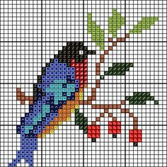 Moje małe pasje Cross Stitch Bird, Cross Stitch Flowers, Cross Stitch Charts, Cross Stitch Designs, Cross Stitching, Cross Stitch Embroidery, Cross Stitch Patterns, Perler Bead Emoji, Perler Beads