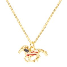 American Flag Gold Horse Pendant Necklace