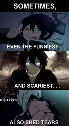No but guys Yato cried in that scene because he saw what happened to Yukine in his life, including how he died. Yato shed the tears that this young boy couldn't. Noragami Anime, Noragami Bishamon, Manga Anime, Tokyo Ghoul, Sad Anime Quotes, Manga Quotes, I Love Anime, Awesome Anime, Dark Fantasy