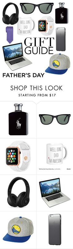 """""""Father's Day Gift Guide"""" by alexisbieberisme ❤ liked on Polyvore featuring Ralph Lauren, Ray-Ban, Beats by Dr. Dre, Mitchell & Ness, Tavik Swimwear, Brioni, men's fashion, menswear and fathersdaygiftguide"""