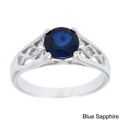 Oravo Sterling Silver Round Gemstone and Cubic Zirconia Ring (Blue Sapphire Size 5), Women's