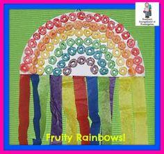 We're totally making this one in April! Fruit Loop rainbow will make Preston so happy! Kindergarten Smorgasboard, Kindergarten Crafts, Daycare Crafts, Classroom Crafts, Preschool Crafts, Classroom Ideas, Cute Kids Crafts, Crafts To Do, Spring Crafts