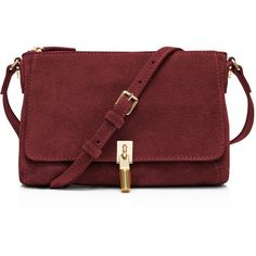 Elizabeth and James Suede Cynnie Micro Crossbody ($220) ❤ liked on Polyvore featuring bags, handbags, shoulder bags, bordeaux, crossbody purses, suede handbags, red suede handbag, red shoulder handbags and red purse