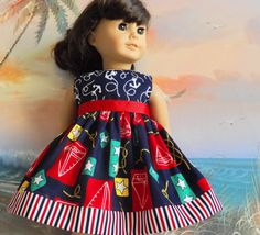 American Girl Doll Clothes Dress Red White and by sewgrandmacathy, $11.75