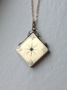 Antique Victorian Watch Fob Square Etched Starburst Brilliant Locket, Gold Photo Locket, Gold Filled Necklace