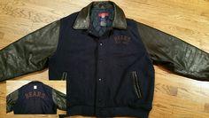 Chicago Bears Football wool & leather Varsity snap Reebok Jacket Men's Large NFL #Reebok #ChicagoBears