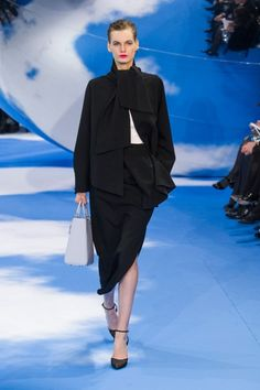 Dior Fall 2013, i can not tell if this is a scarf wrapped around the neck , or the actual neckline