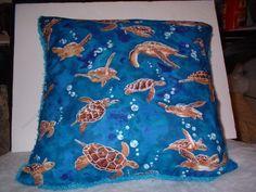 sea turtle pillow with fun trim