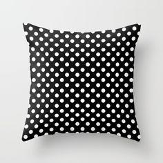 Black Polka Dot Pattern Throw Pillow