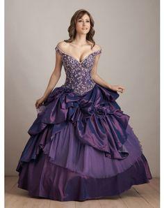 Ball-Gown Off-the-shoulder Applique Floor-length Taffeta Prom Dresses