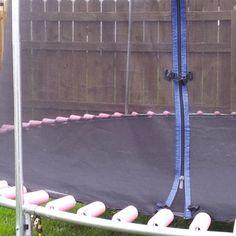 Trampoline/Pool Noodle Hack - eight pool noodles and zip ties
