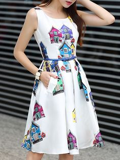 Delightful Round Neck  Printed Skater-dresses With Belt Skater Dresses from fashionmia.com