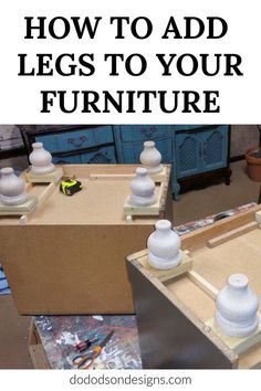 Got short furniture? Just add legs! - Got short furniture? Just add legs! It's too short! Why not add legs to furniture and bring it up to date with the current style instead of buying new? Repair that furniture! Furniture Repair, Paint Furniture, Furniture Projects, Furniture Makeover, Diy Furniture Legs Ideas, Furniture Update, House Projects, Furniture Plans, Furniture Making